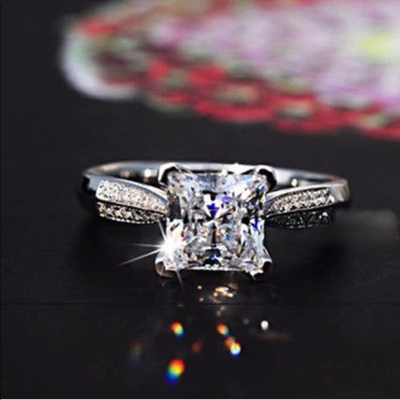 972189a68 Sim Dia Jewelry | 2ct Princess Cut Aaa Cz 925 Silver Engagement Ring ...
